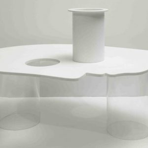Laura Zeni Little Table Profile Corian E Plexiglass Cm 34x60x90 Leggera
